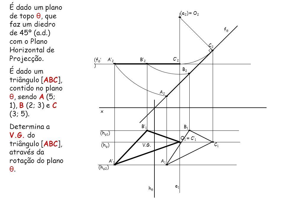 Determina a V.G. do triângulo [ABC], através da rotação do plano θ.